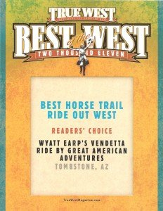Horseback Riding in Tombstone, AZ - True West - Readers Choice Award - 2011 (2)